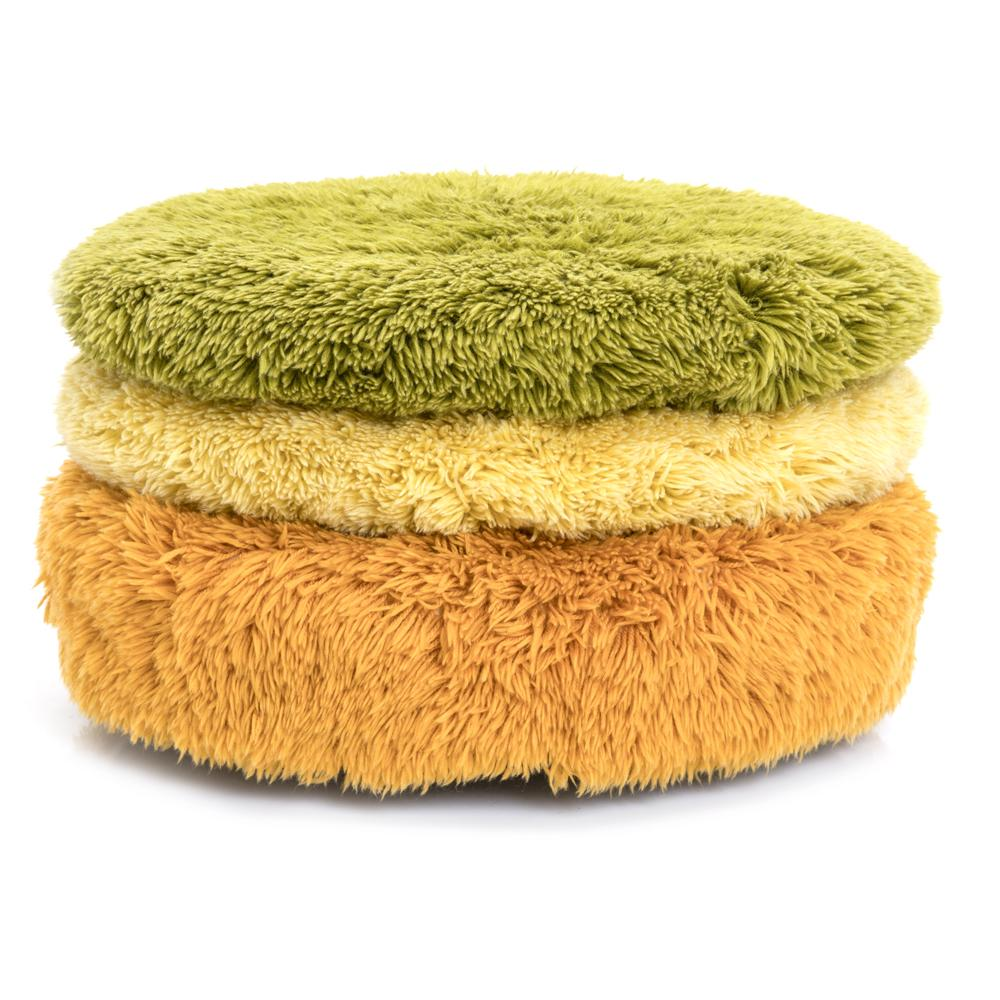 Yellow Shag Floor Pillow