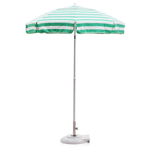Aqua Green and White Stripe Beach Umbrella