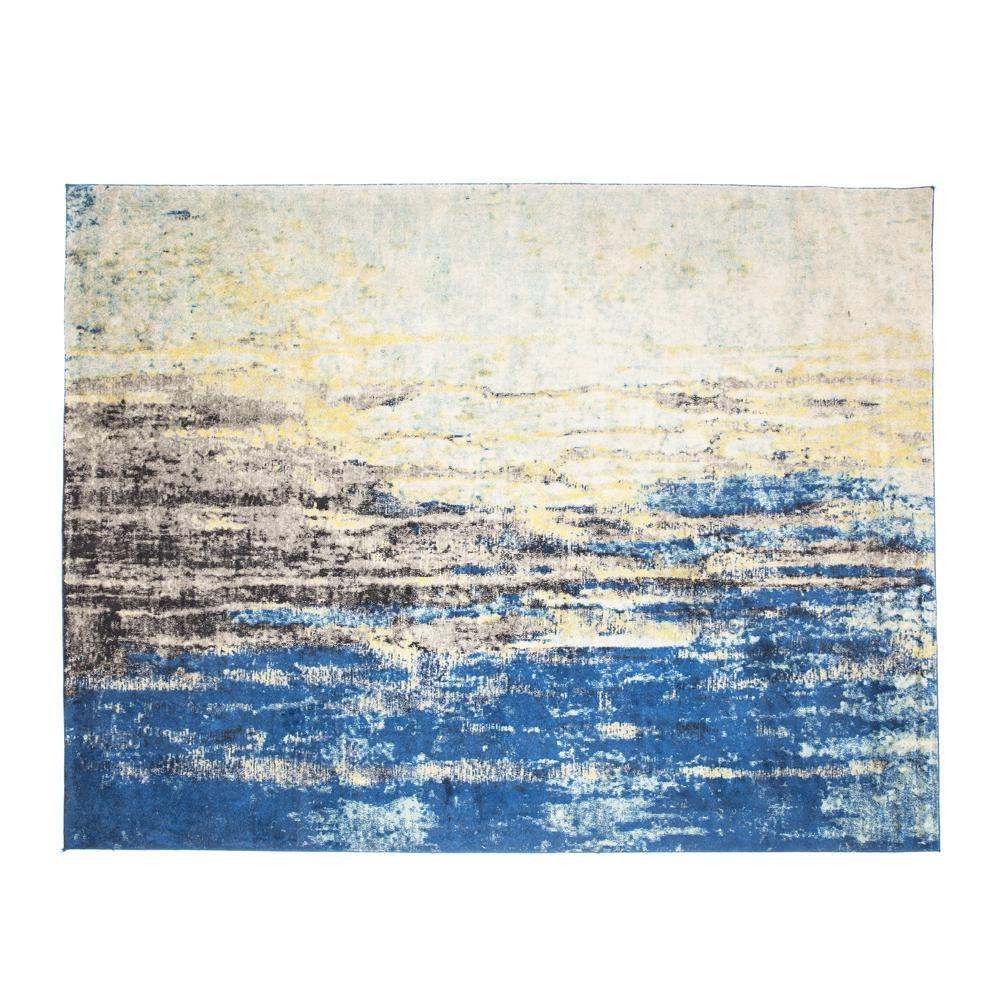 Abstract Blue Black and Cream Rug
