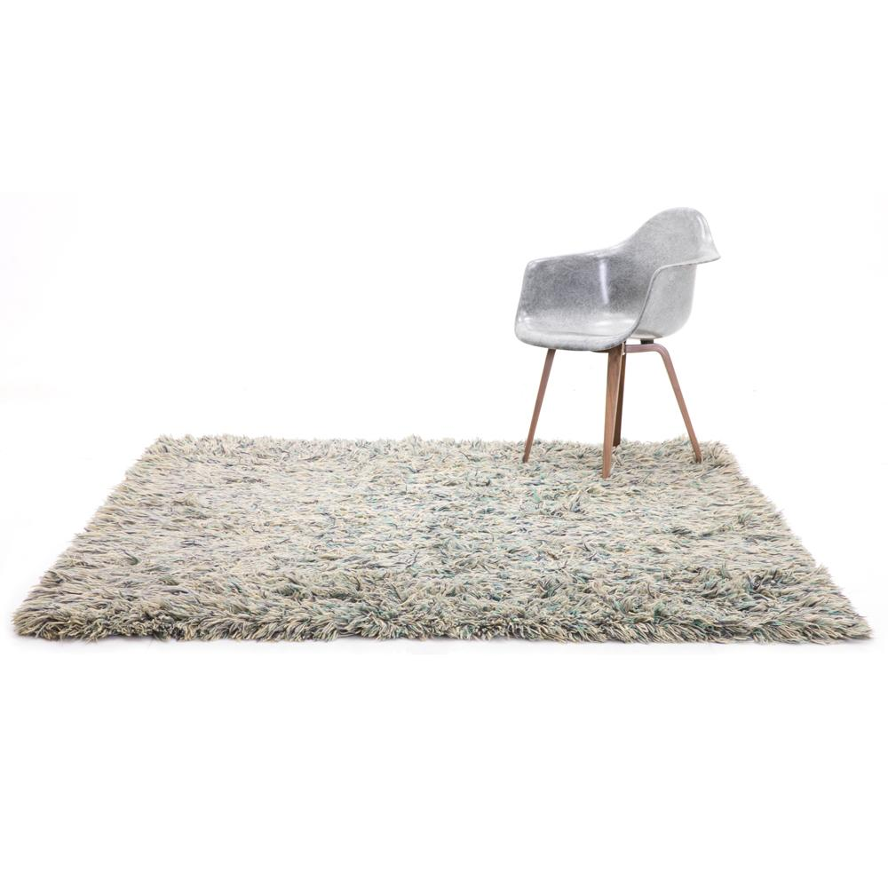 Aqua and White Shag Rug