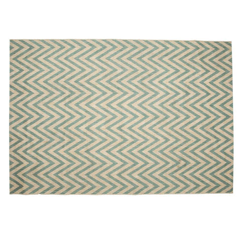Aqua and Natural Chevron Rug
