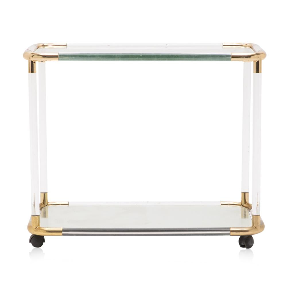 Lucite and Gold Bar Cart