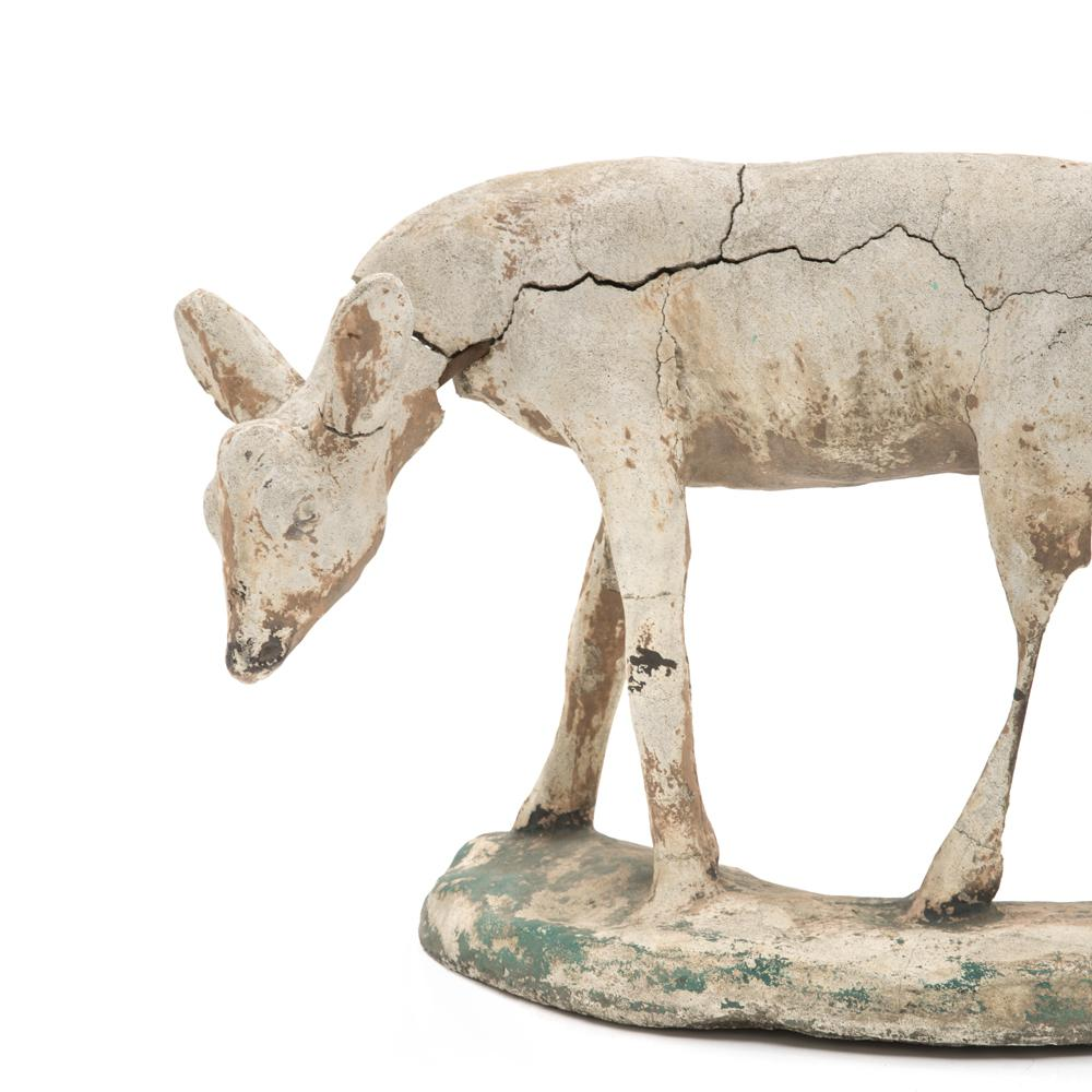 Rustic Cement Fawn Sculpture
