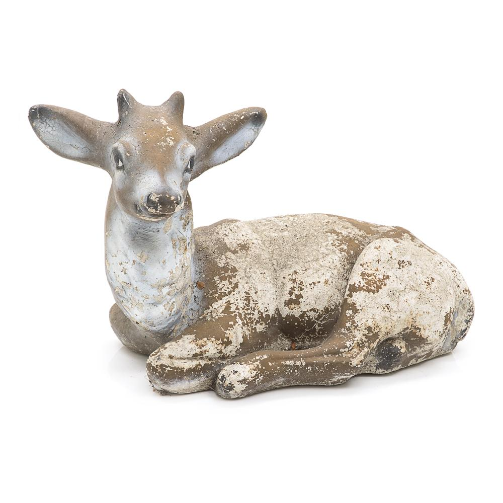 Rustic Cement Fawn Sitting Sculpture