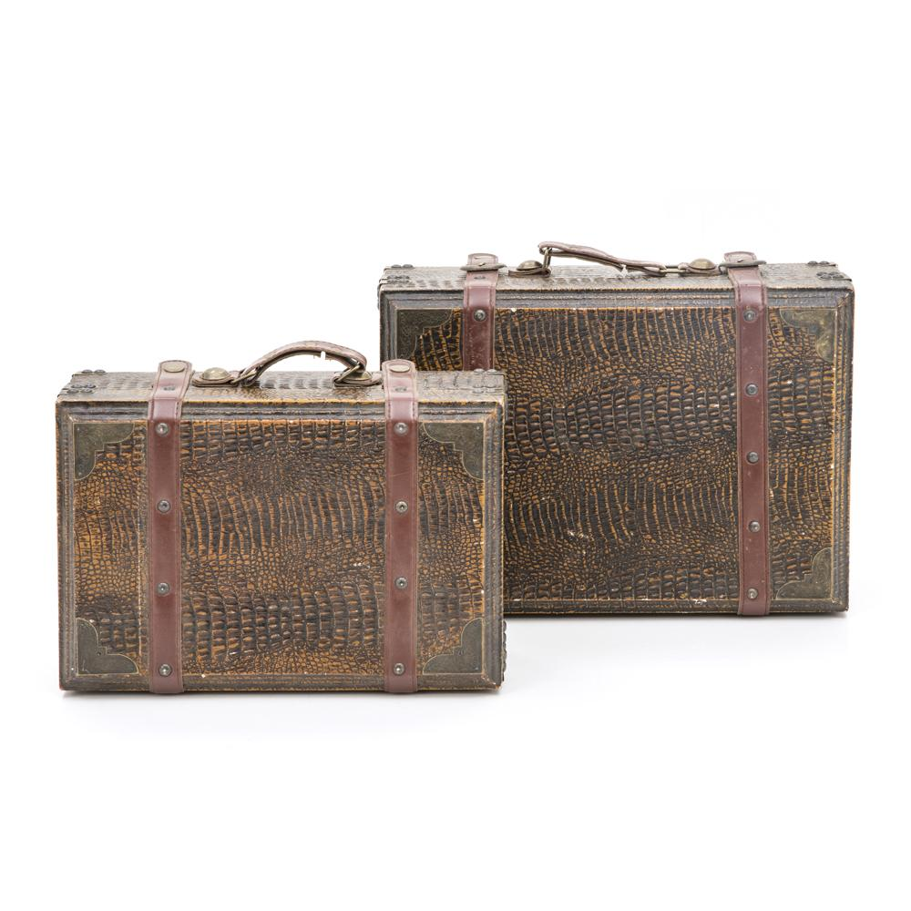 Alligator Skin Suitcase With Leather Straps Large