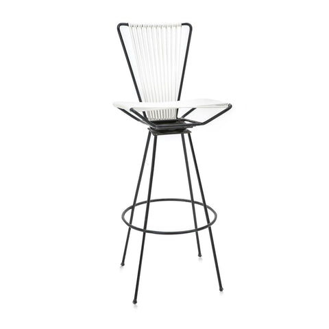Black and White Woven Outdoor Stool