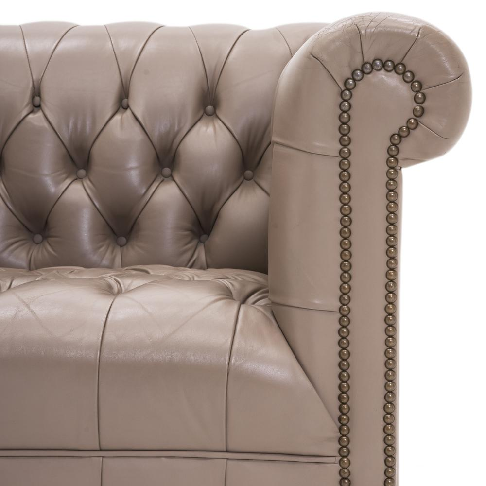 Chesterfield Chair - Taupe Leather