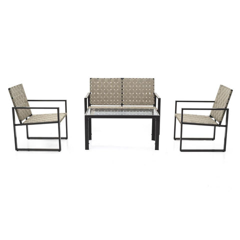 Beige Banded Outdoor Table Set
