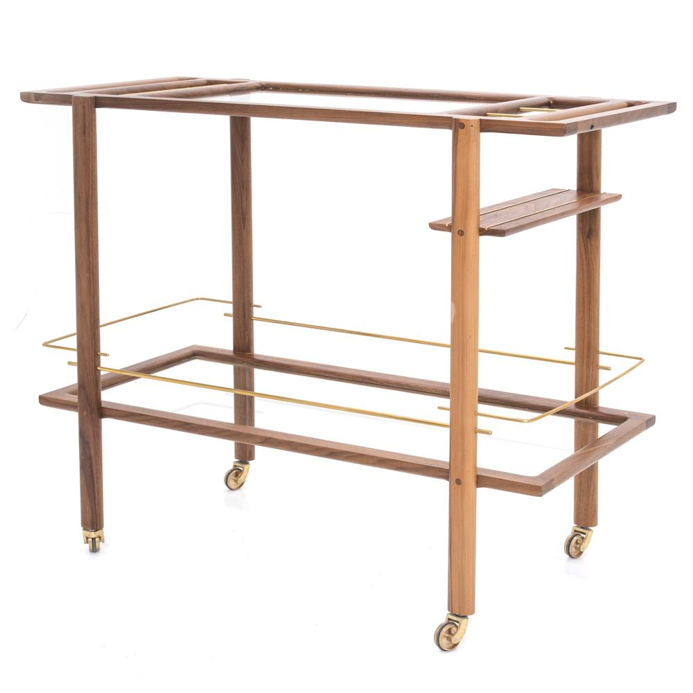 Art Deco Wood Bar Cart