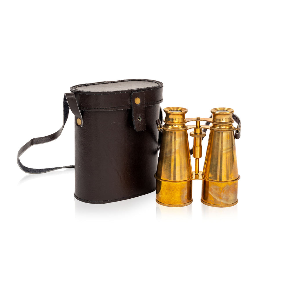 Solid Brass Vintage Binoculars with Case