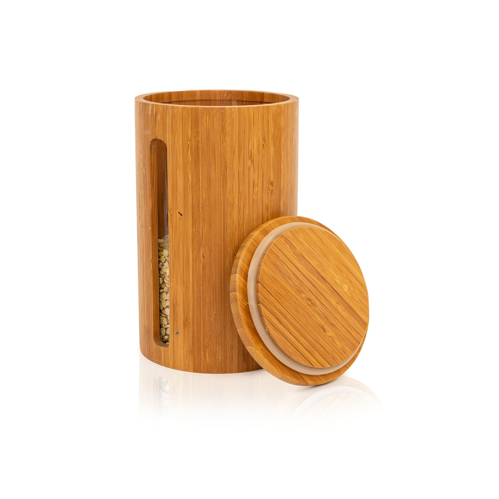 Tall Wood Spice Container