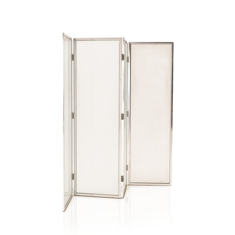 White Glass 4 Panel Room Divider