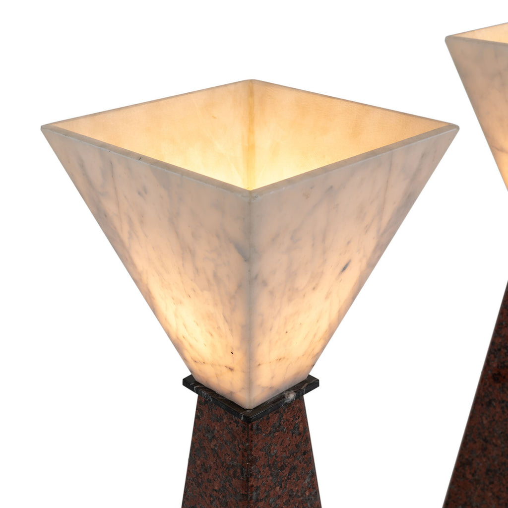 Polished Granite Pyramid Floor Lamp