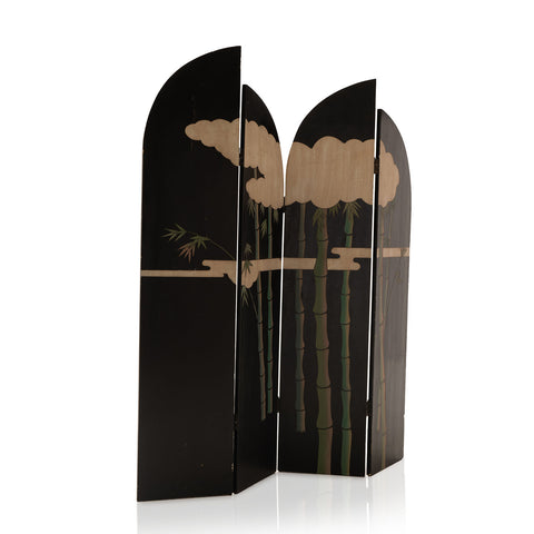 Black Wood Divider with Cloud and Bamboo Design