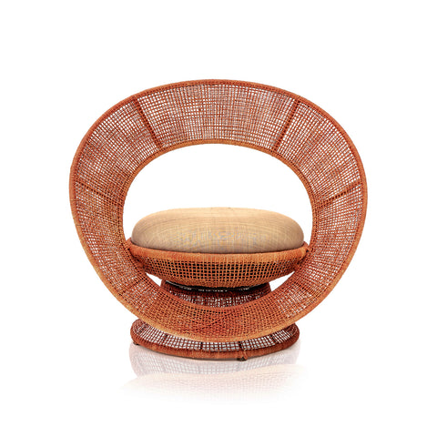 Orange Wicker Hoop Outdoor Chair