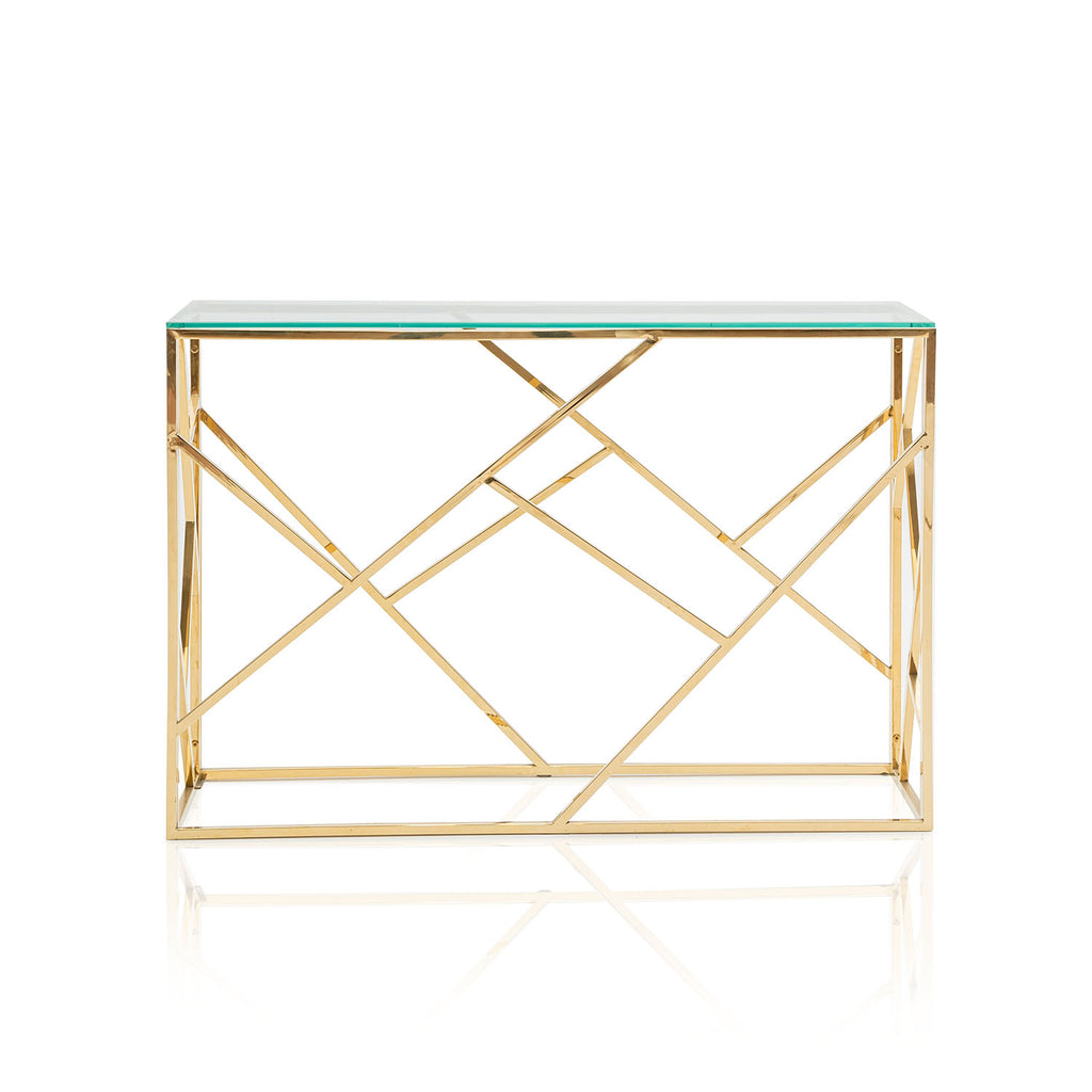 Gold Geometric Base Console Table