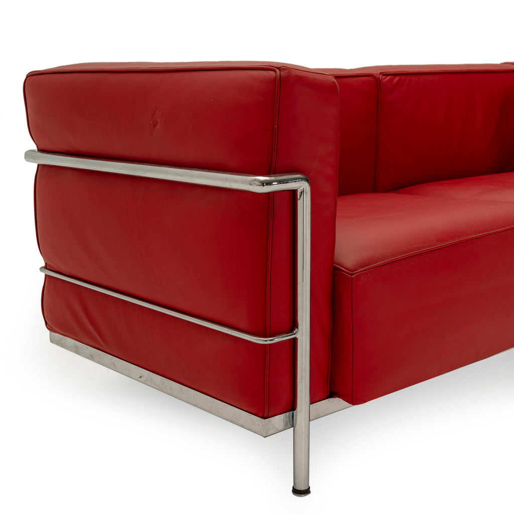 Deep Red Leather Corbusier Sofa
