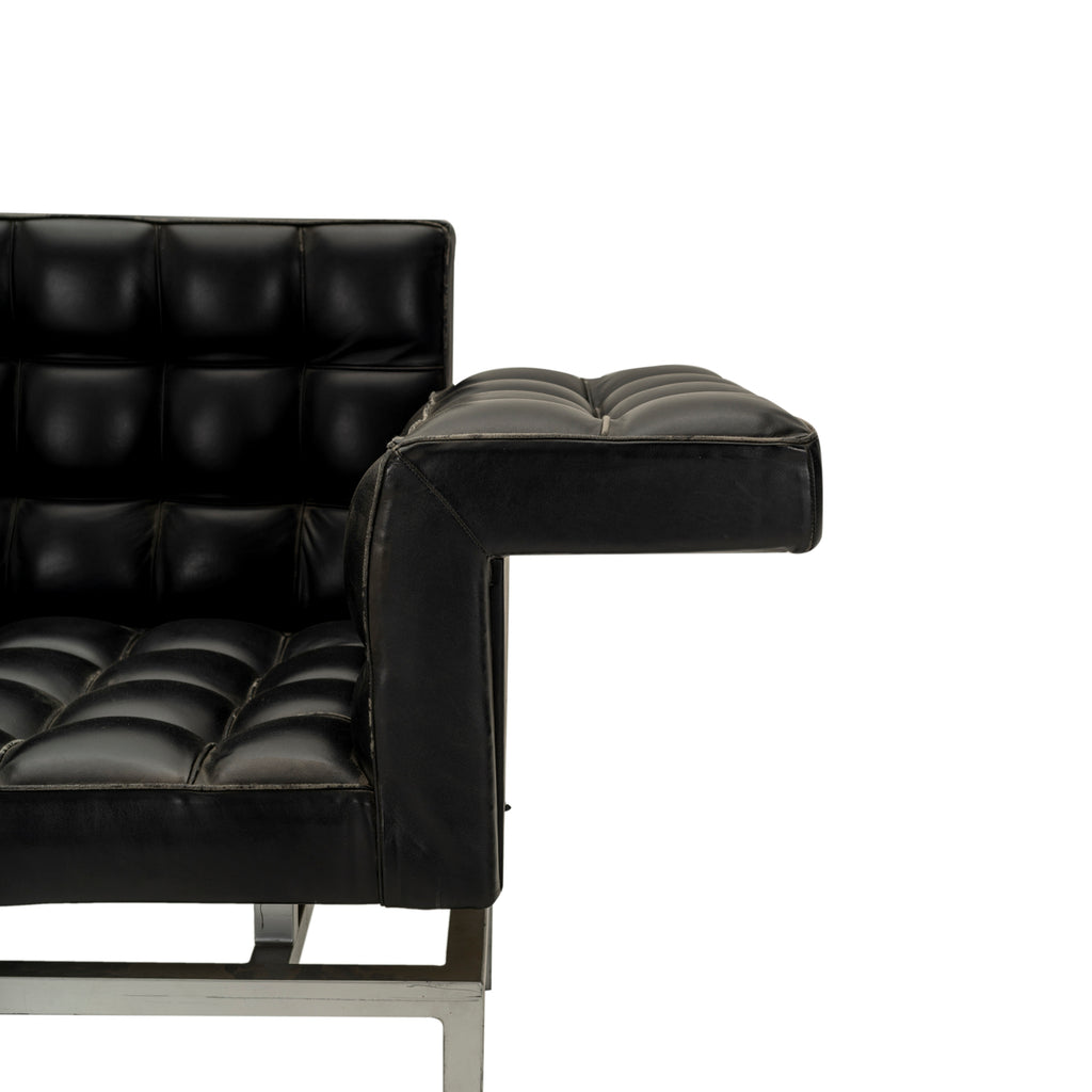 Black Square Tufted Leather Wing Arm Sofa