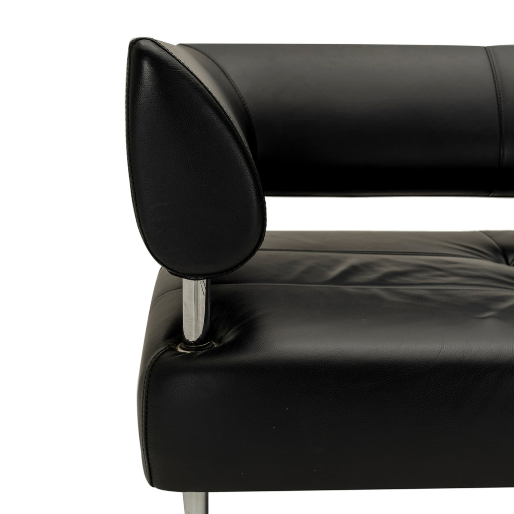 Black Leather Floating Back Sofa