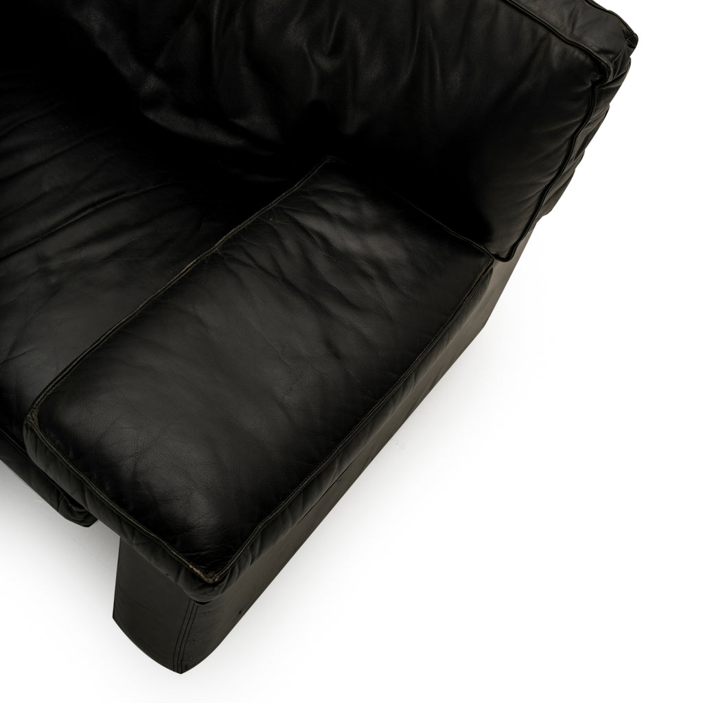 Wide Arm Black Leather Couch