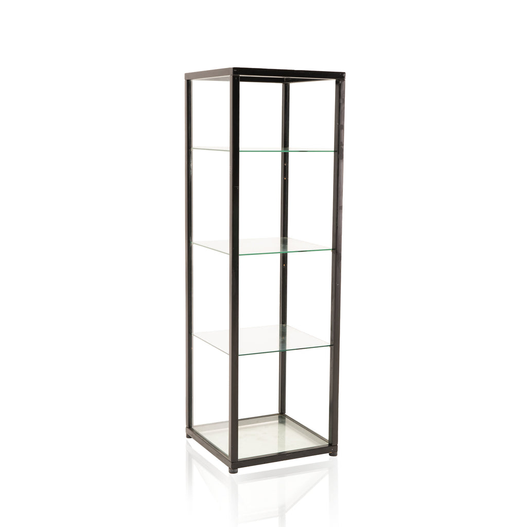 Glass Shelving Unit with Black Frame