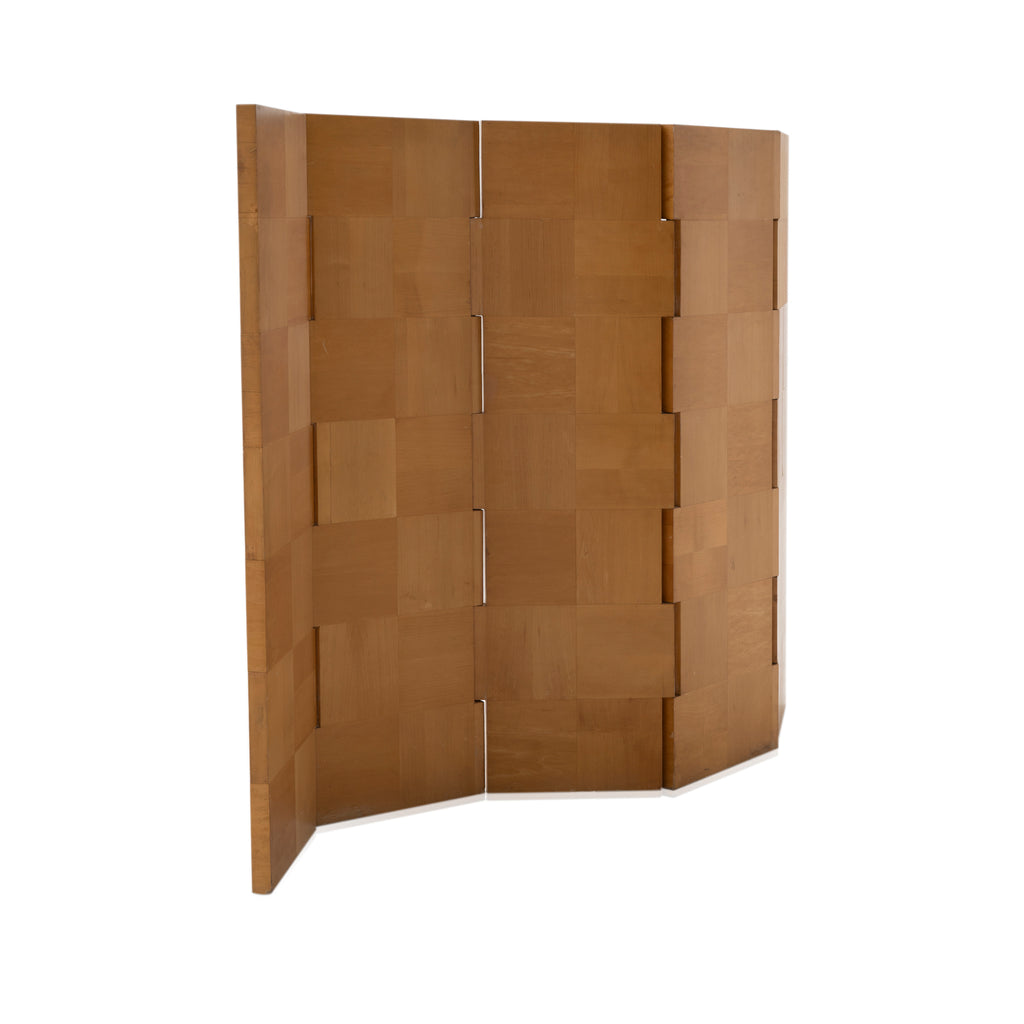 Wooden Checkerboard Folding Screen Room Divider
