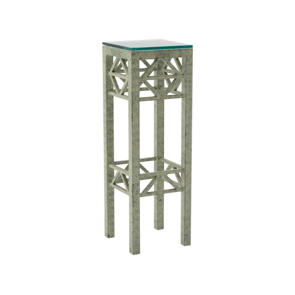 Green Metal Cutout Plant Stand Table