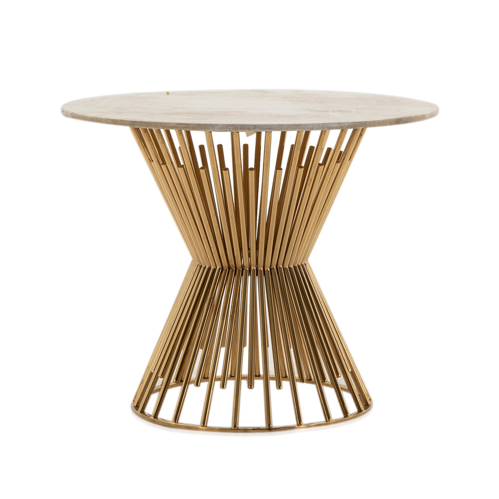 Round Tan Marble and Gold Side Table