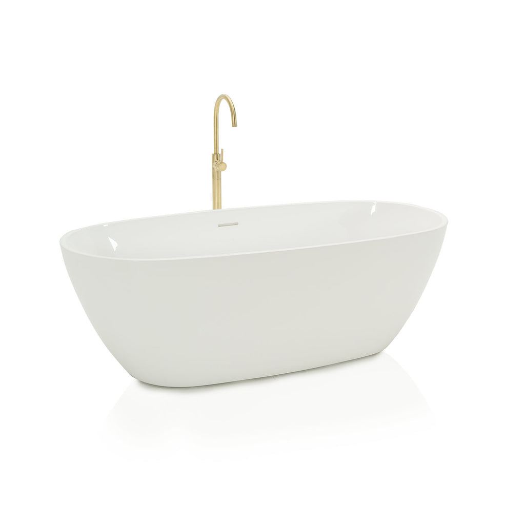 Contemporary Bathtub with Gold Faucet