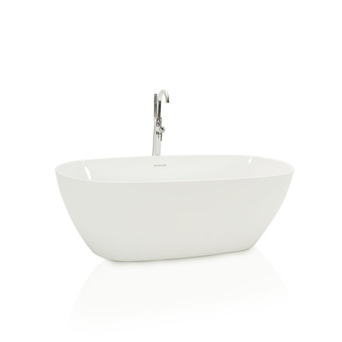 Modern White Bathtub with Chrome Faucet