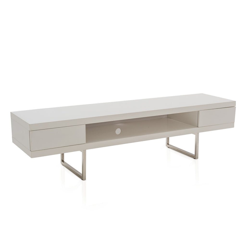 Modern White + Chrome Low Media Console