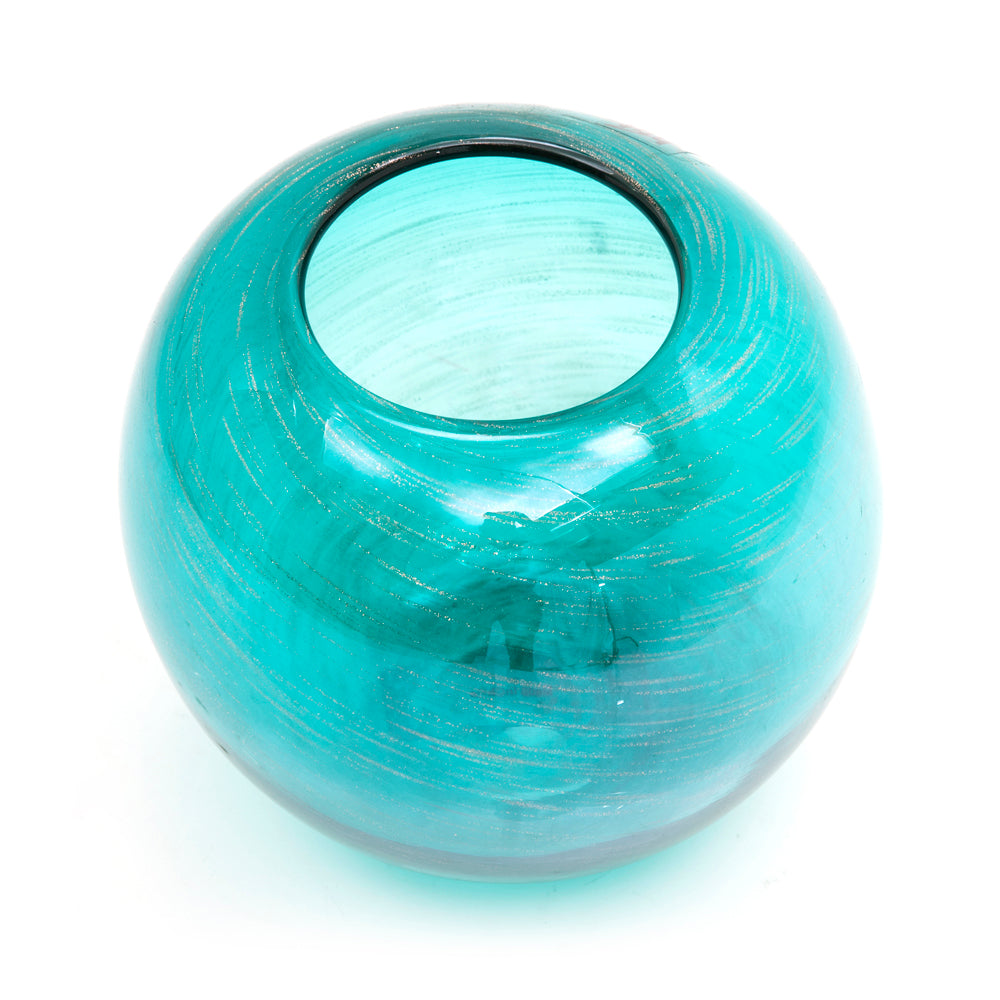 Blue Glass Ball Vase