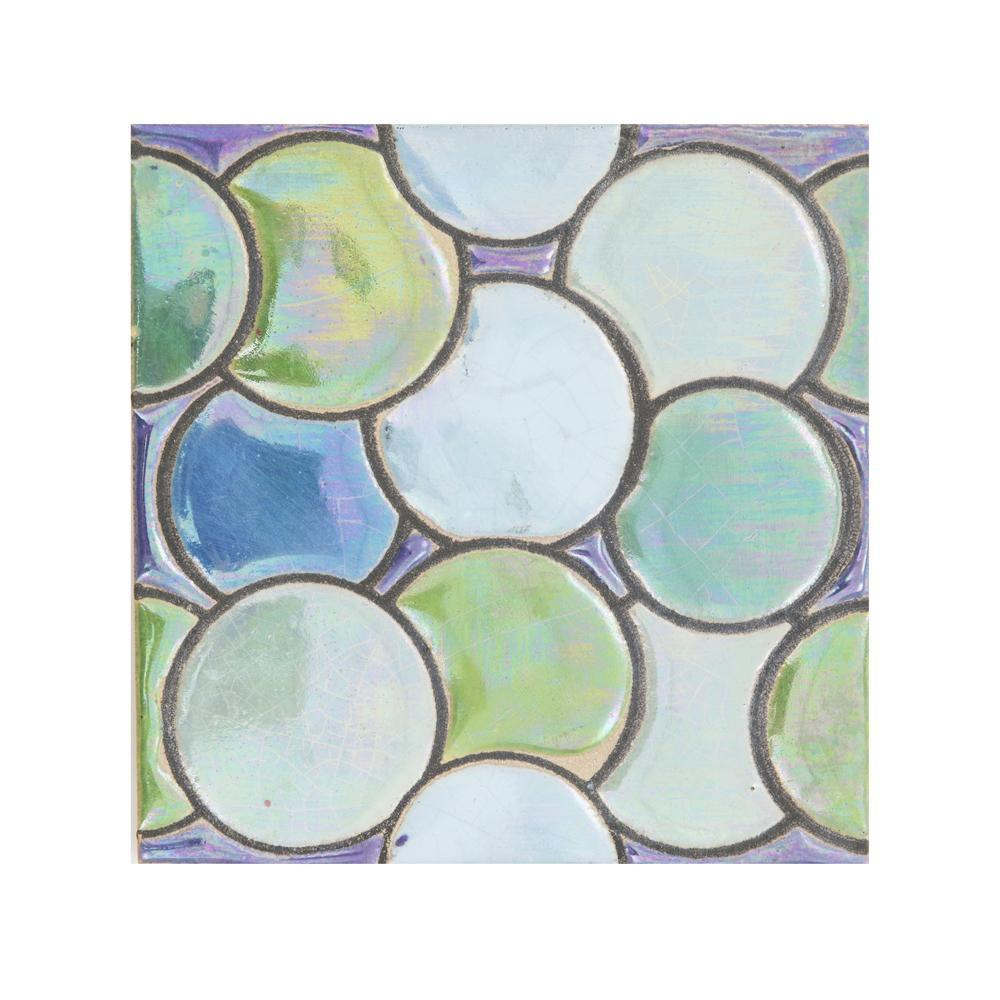 Blue Aqua BFA Ceramic Circle Pattern Tile