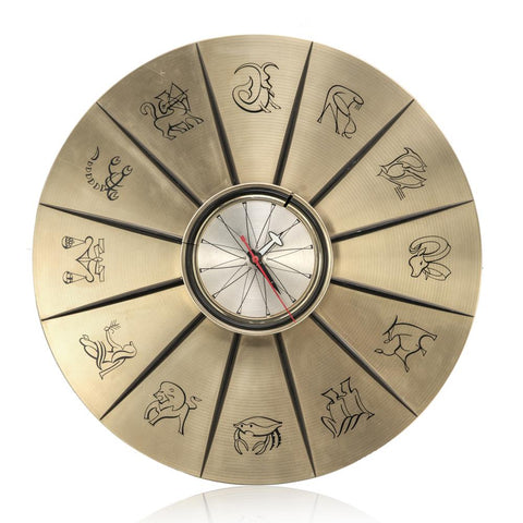 Astrology Wall Clock - Gold