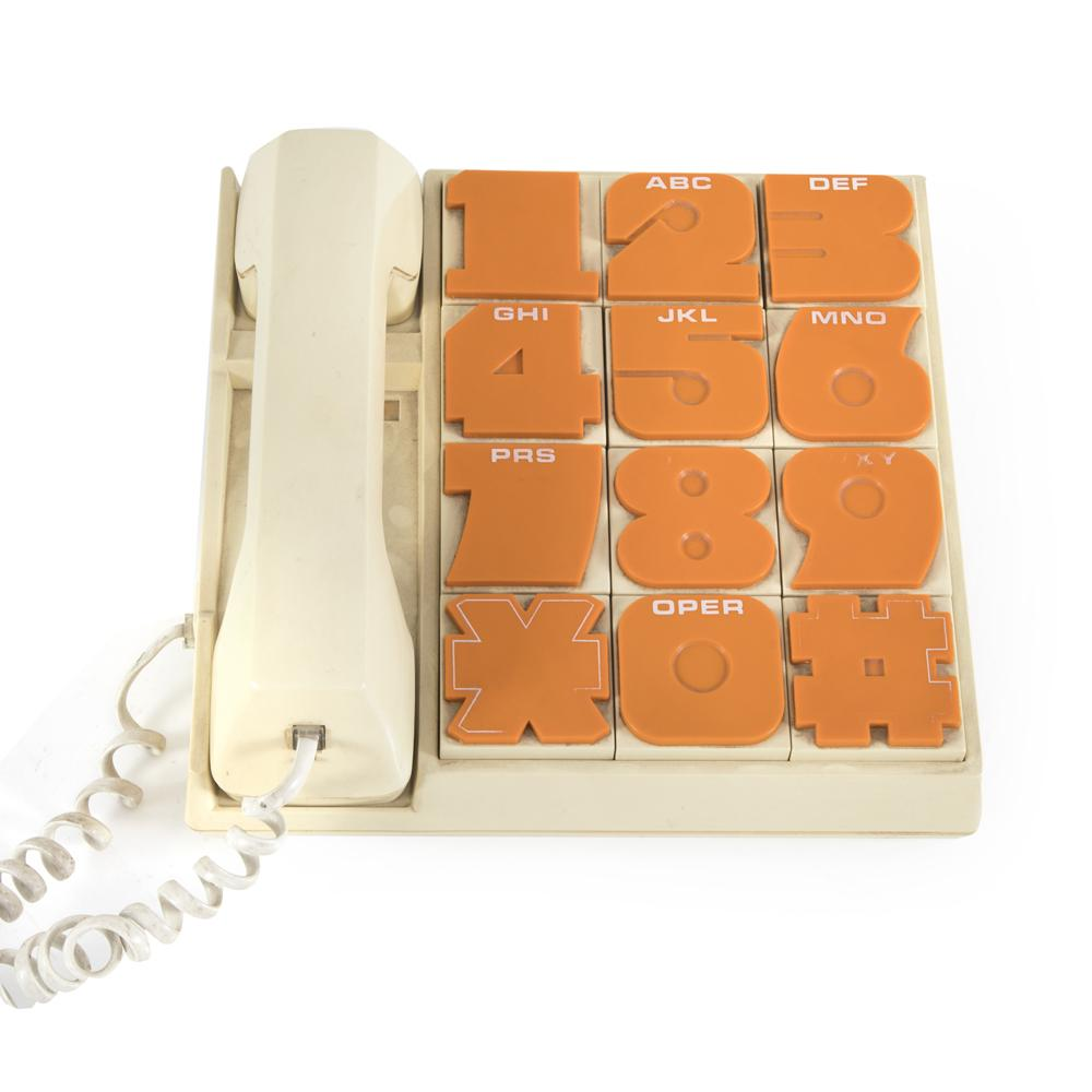 Beige Vintage Phone with Large Orange Buttons