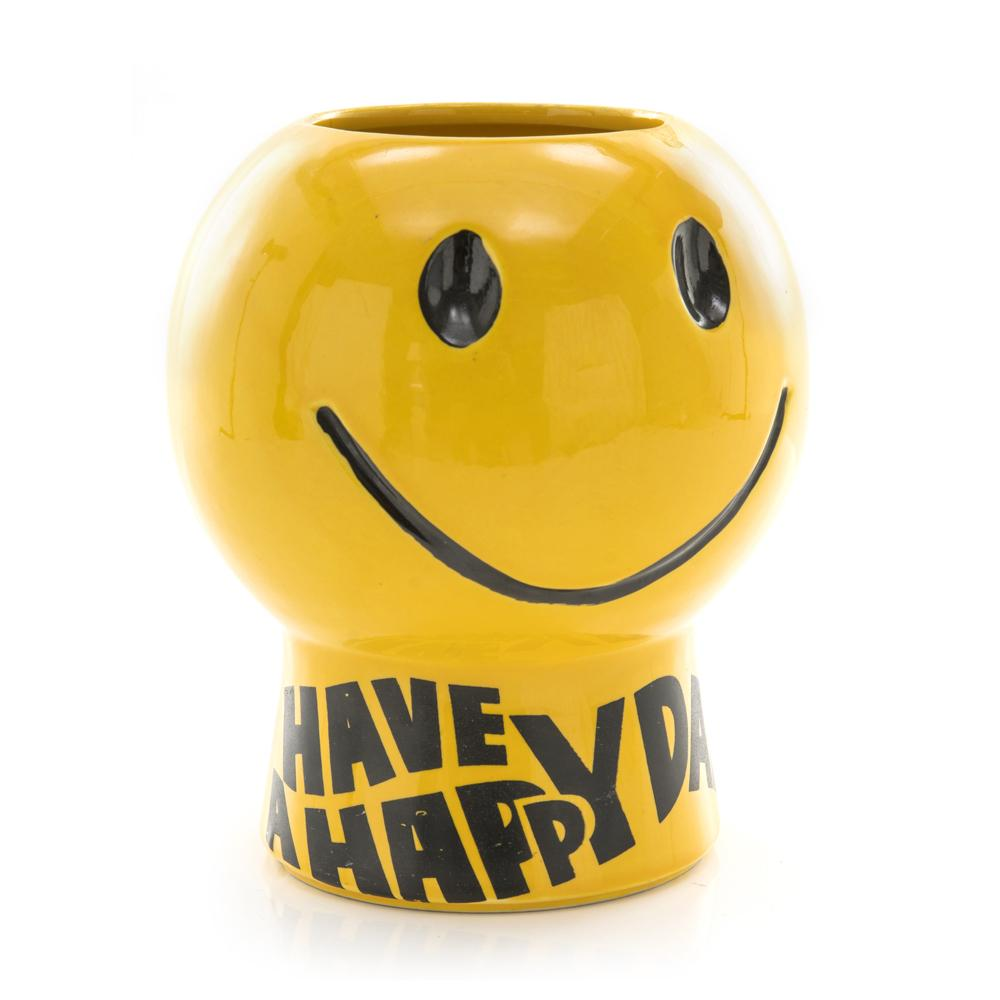 Yellow Smiley Face Cookie Jar (No Lid)