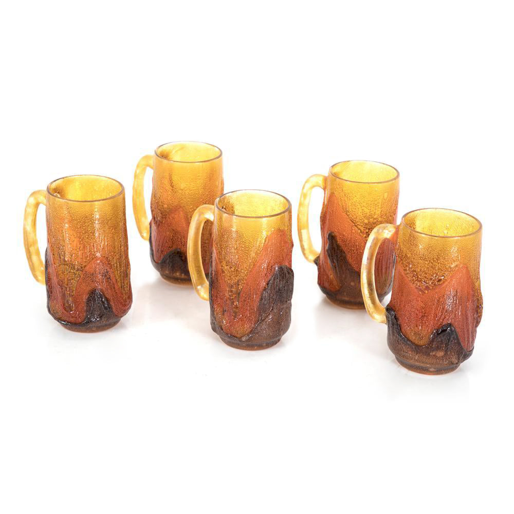 Amber Glass Lava Mugs - Set of 5