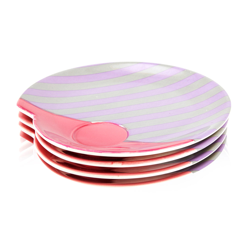 80s Pink + Purple Striped Teacup Plate