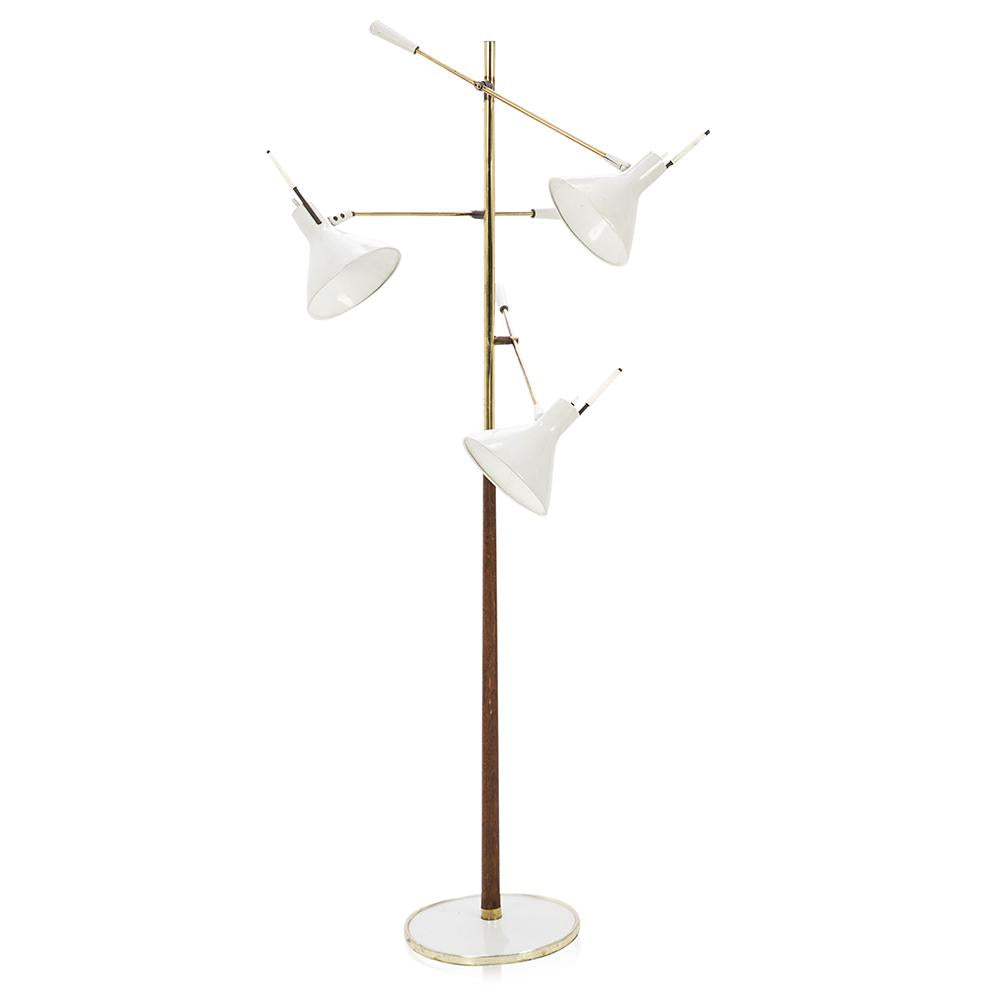 Brass and Wood White Triple Shade Floor Lamp