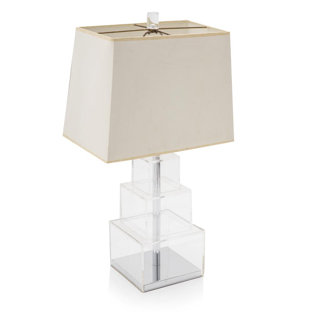 Lucite Stacked Boxes Table Lamp