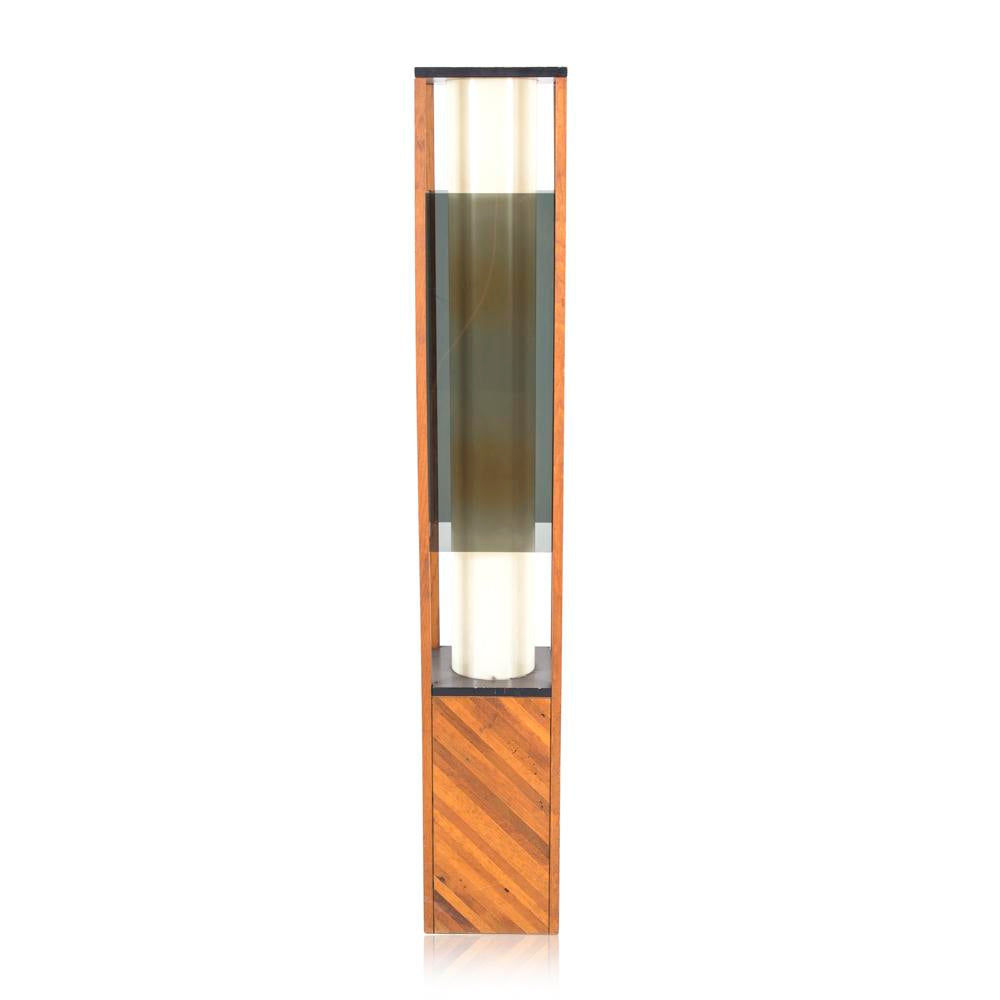 Rectangle Smoke Plexi Floor Lamp With Wood Base