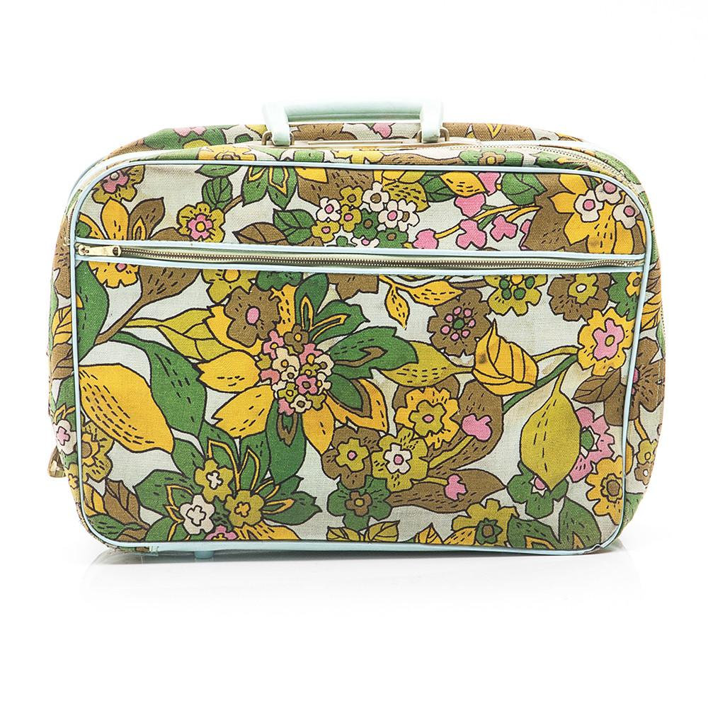 Blue/Green Floral Pattern Suitcase