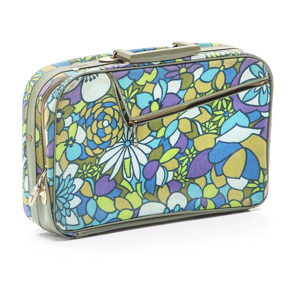 Blue/Green/Purple Floral Suitcase