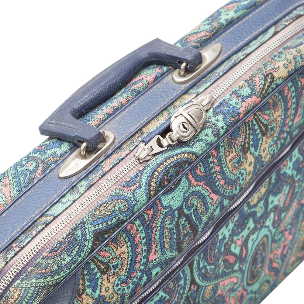 Blue Multicolored Paisley Leather Luggage