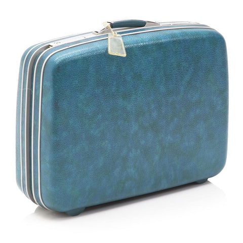 Blue Teal Fiberglass Suitcase