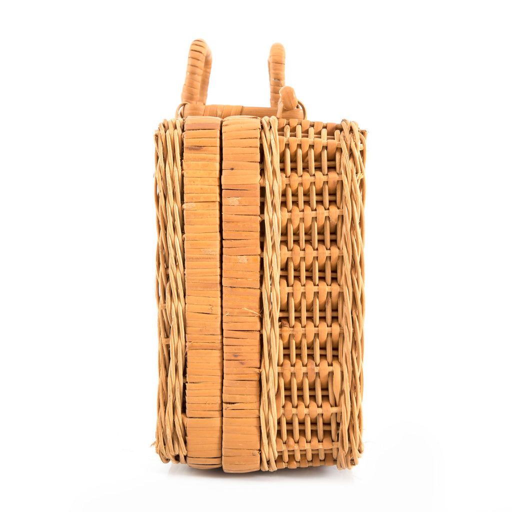 4 Piece Tan Wicker Luggage Set