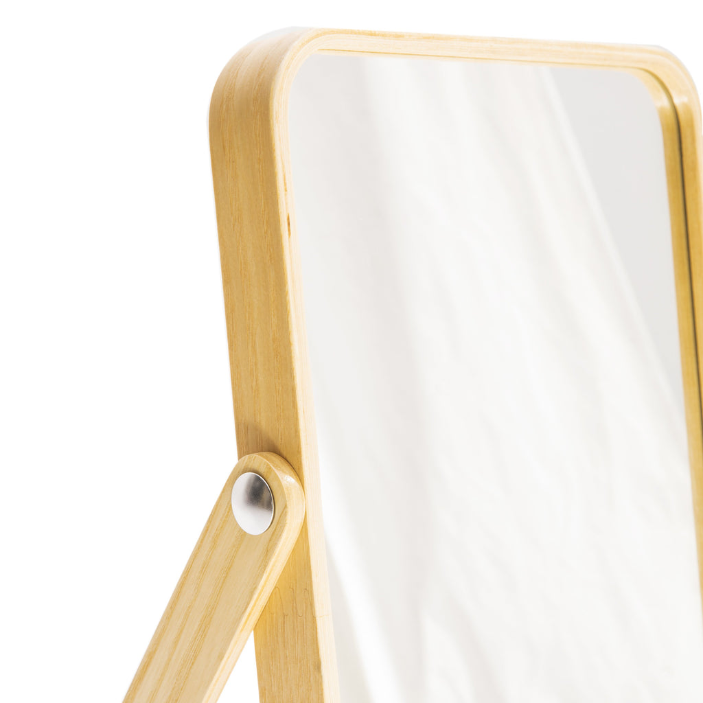 Light Wood Rectangle Tabletop Mirror