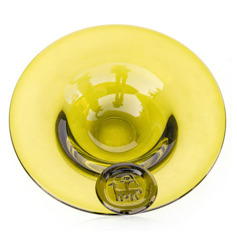 Circular Glass Yellow Ashtray