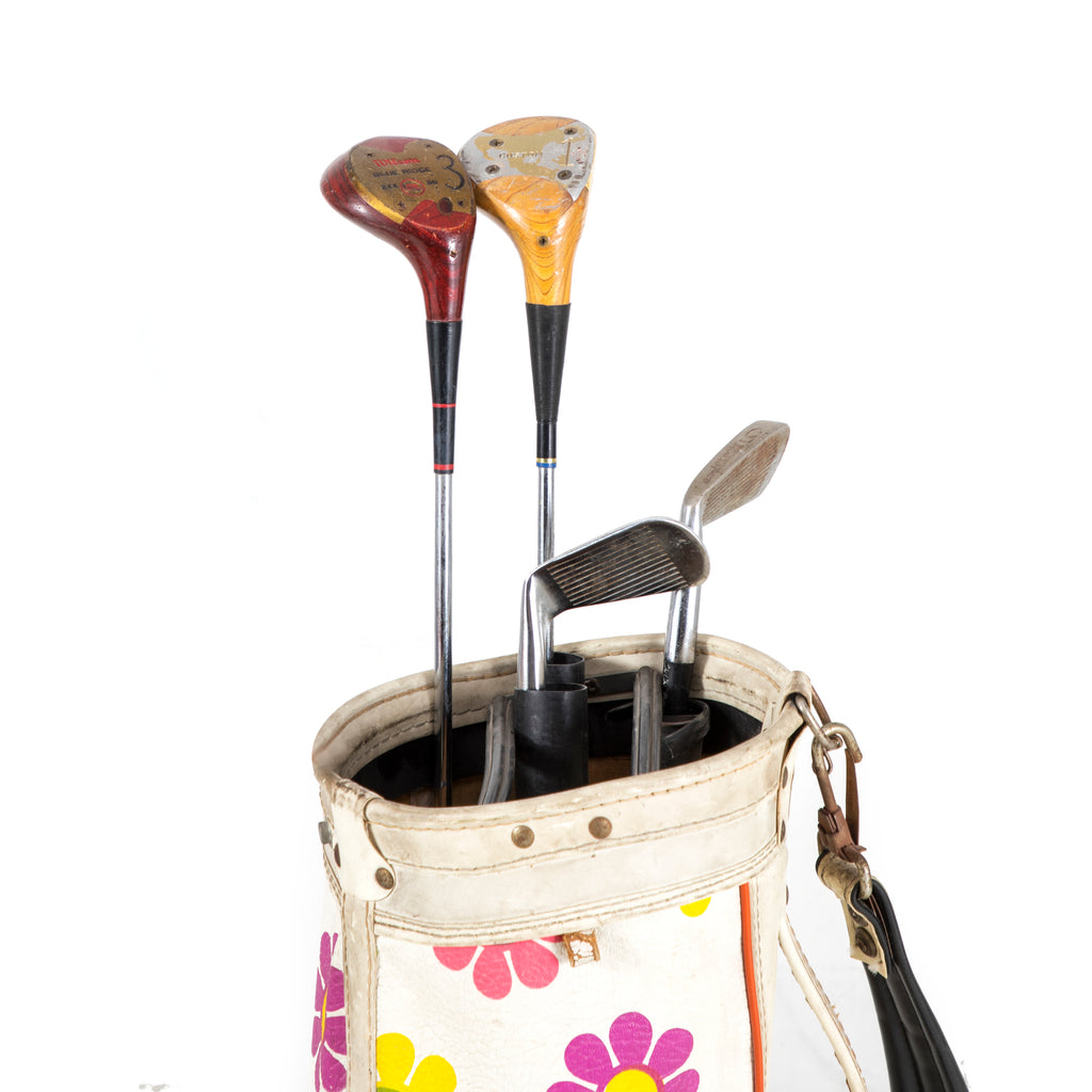 Floral Golf Bag with Clubs