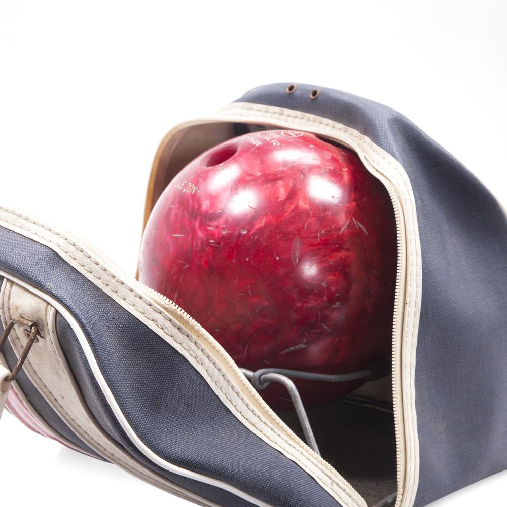 Blue Bowling Bag with Red Ball